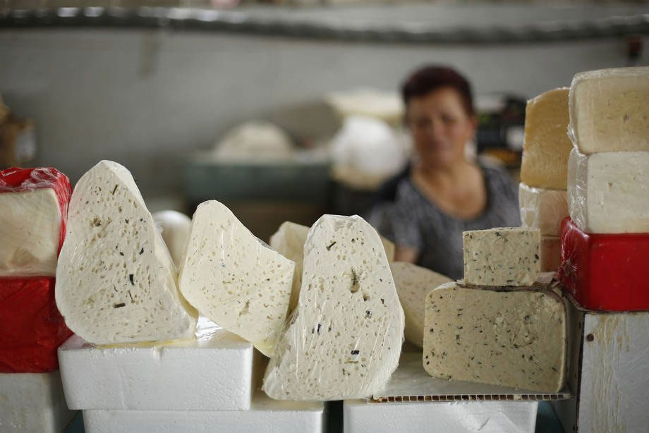 Armenian cheese on sale at the market in Yerevan, the capital and largest city in the country. Photo: FAO/Biayna Mahari