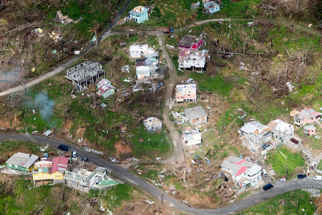 Photo: Aerial view of the devastation in Dominica following successive category five hurricanes in September 2017.