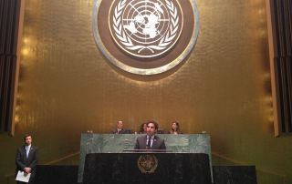 Ahmad Alhendawi Addressing the Global Classrooms International Model United Nations Conference