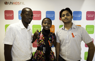 Photo : Abhinay Singh from India, Ritah Namwiza from Uganda and Anthony Adero, UNAIDS Special Youth Fellows 2011. Credit: UNAIDS