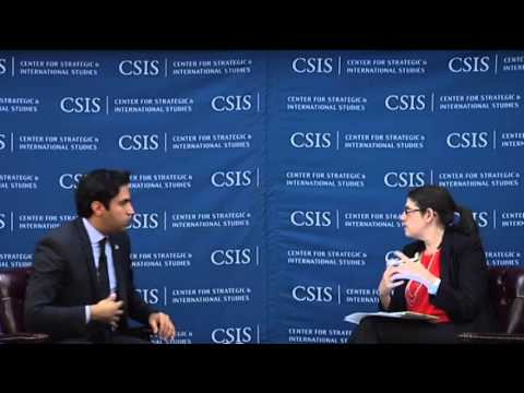 Ahmad Alhendawi in discussion with Nicole Goldin