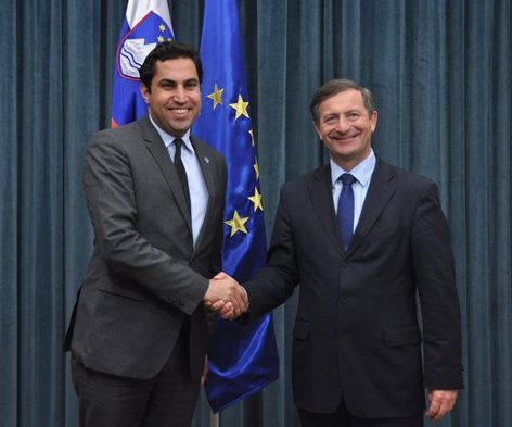 Ahmad Alhendawi with Minister of Foreign Affairs of Slovenia, H.E. Karl Erjavec.