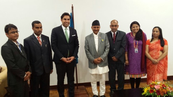 The UN Envoy on Youth with the delegation of the Government of Nepal.