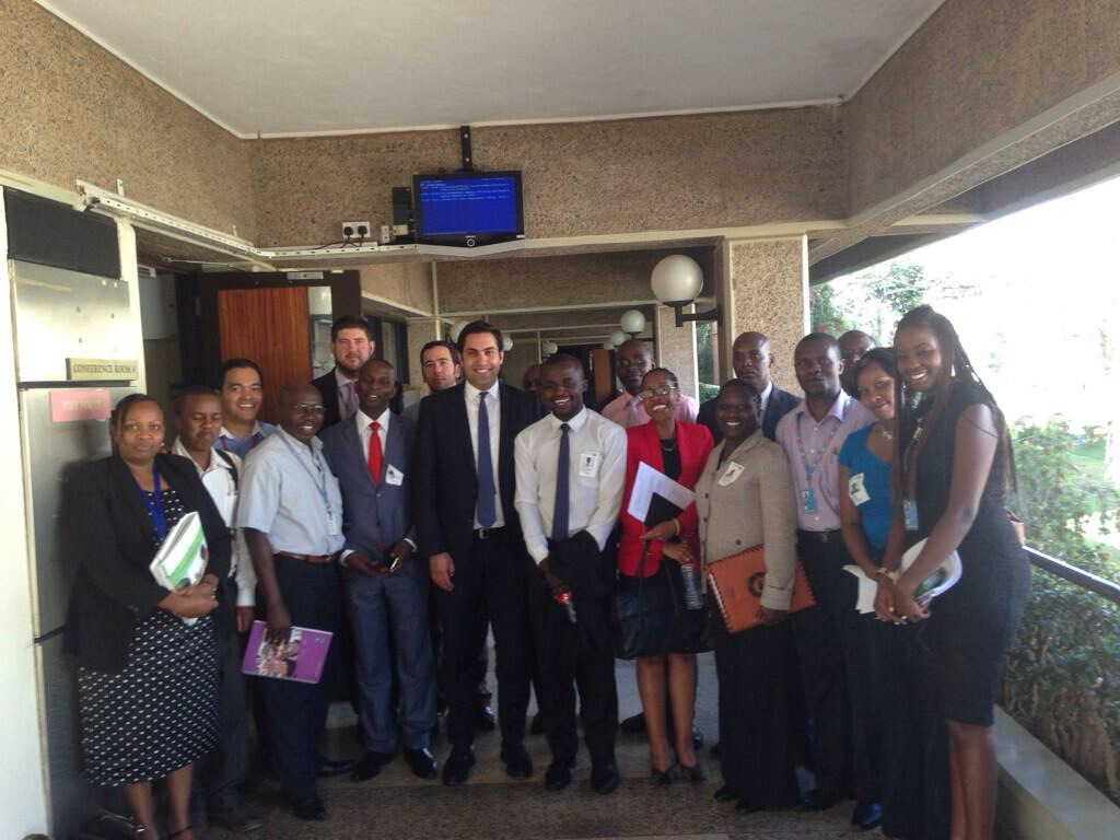 Alhendawi with members of Kenya Parliamentary Committee on Youth and the UN-Habitat Youth team