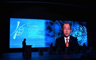 Secretary-General Ban Ki-moon delivers a video message to the First Global Forum on Youth Policies in Azerbaijan. Photo: Youth Policy Forum