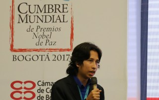 "Julián Rodríguez, youth leader who led a workshop on ""Youth for the Sustainable Development Goals"" at the World Summit of Nobel Peace Laureates in Colombia. (UNDP Colombia, 2017)"