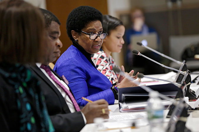 """UN Women Executive Director Phumzile Mlambo-Ngcuka speaks at the event """"The Roadmap for Substantive Equality:2030"""" held at United Nations Headquarters on 14 February 2017. Photo: UN Women/Ryan Brown"""