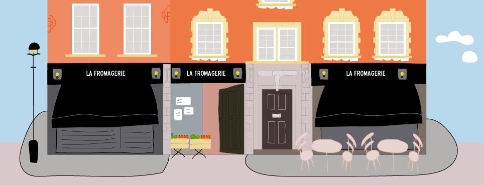 Tiendas delicatessen de Marylebone Dibujo La Fromagerie