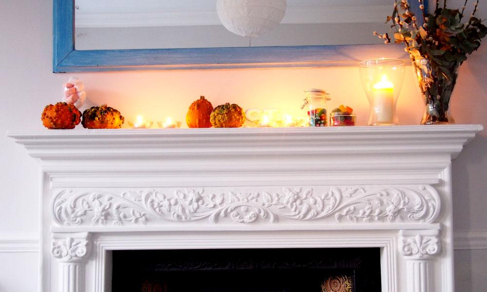 Halloween en Londres calabazas chimenea