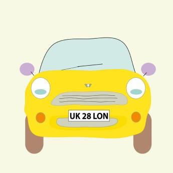 Ilustración del Mini amarillo en Londres de Estrella de Pablo