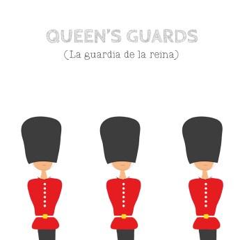 Dibujo de los famosos Queen's Guards de Londres