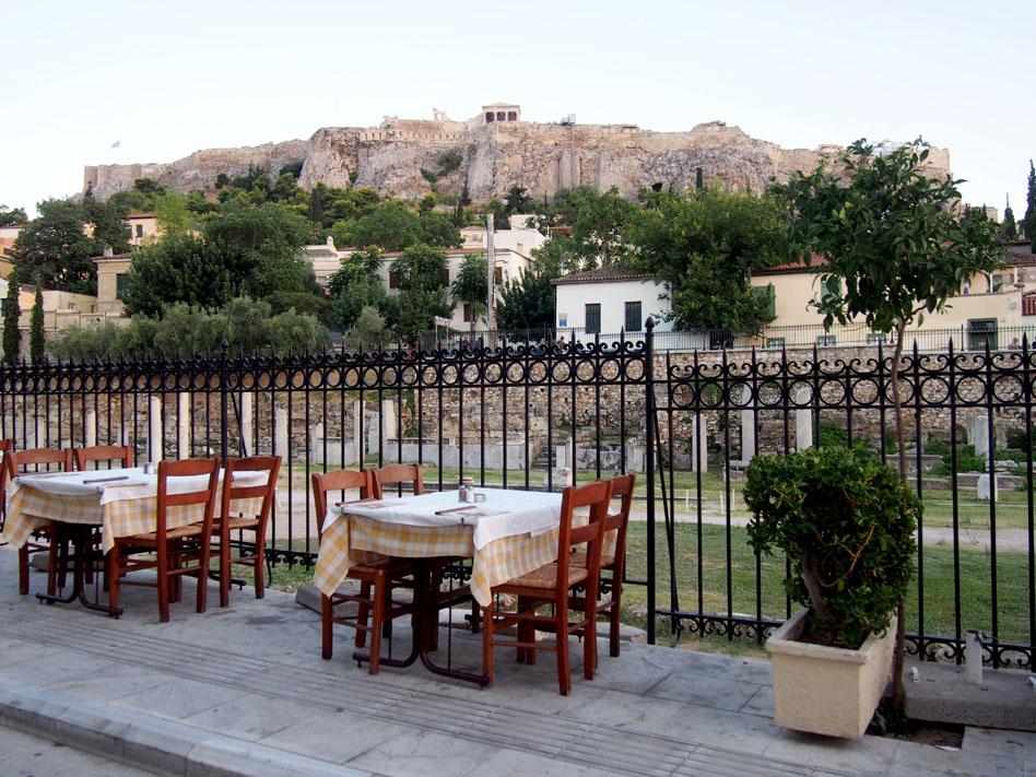 Grecia Atenas mesa vistas a la Acrópolis
