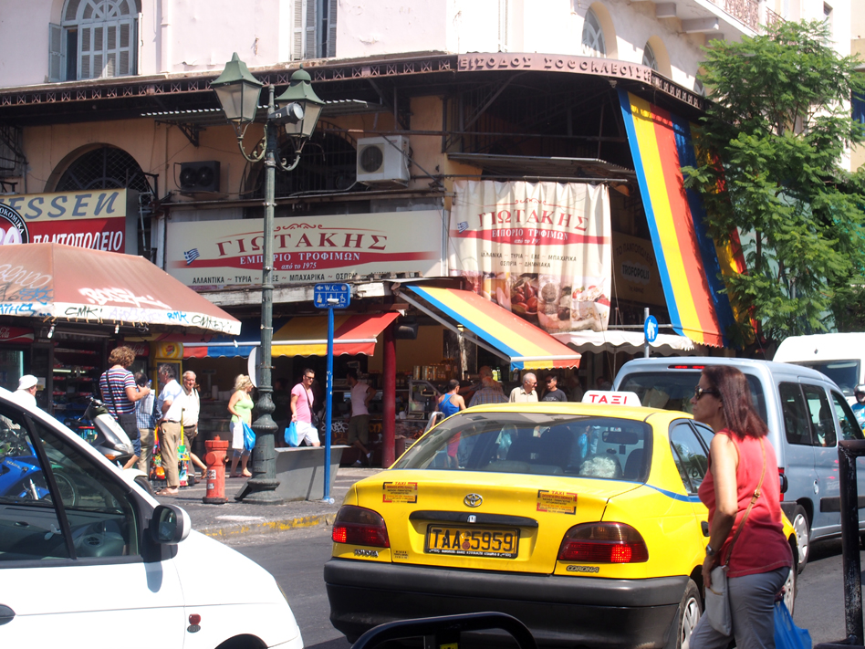 Mercado Central de Atenas tráfico