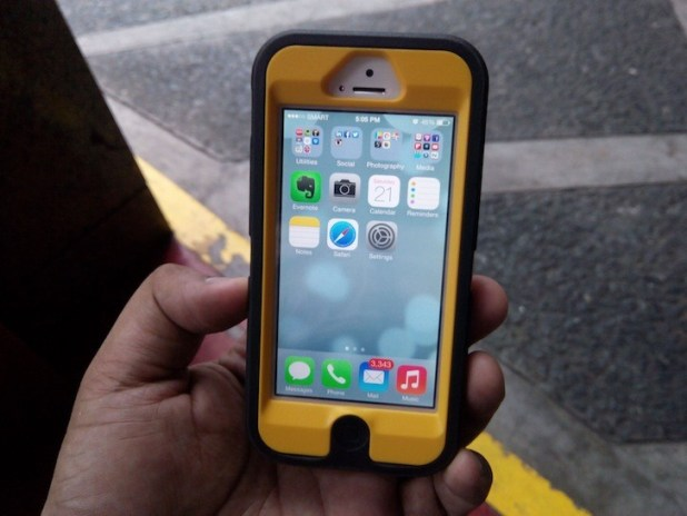 iPhone 5 with iOS 7 in an Otterbox Defender Case