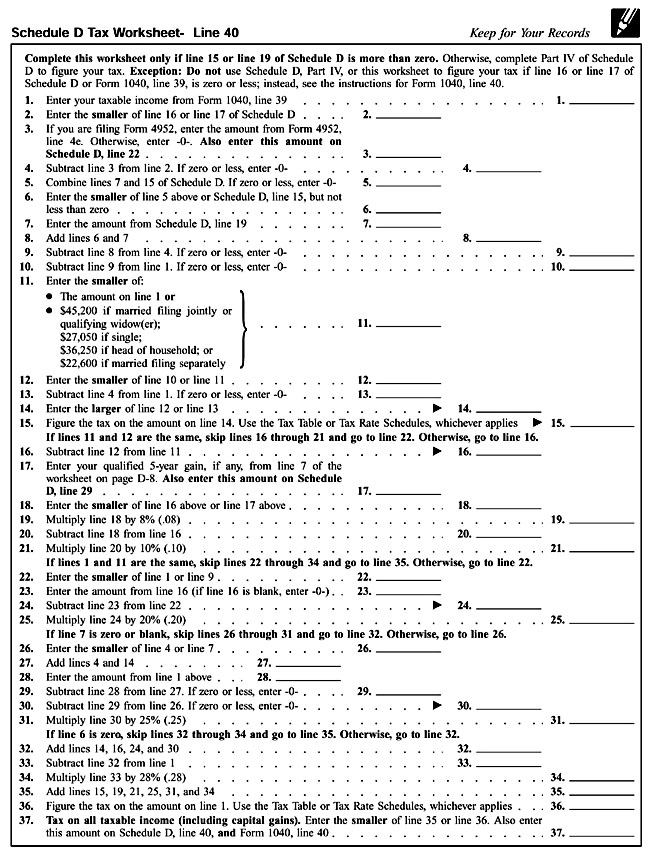 Schedule D Tax Worksheet 2014 Form schedule d tax worksheet 2015 – Schedule Worksheet