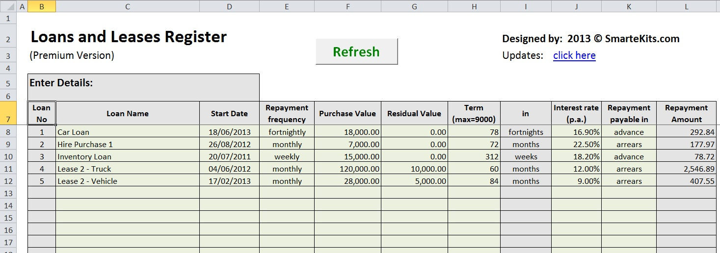 Lease Amortization Schedule Equipment Payment Excel Calculator - How To Calculate An Amortization Schedule In Excel