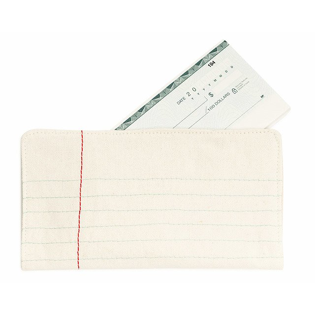 Lined Paper Checkbook Cover Billfold, Wallet, Pouch, Cash