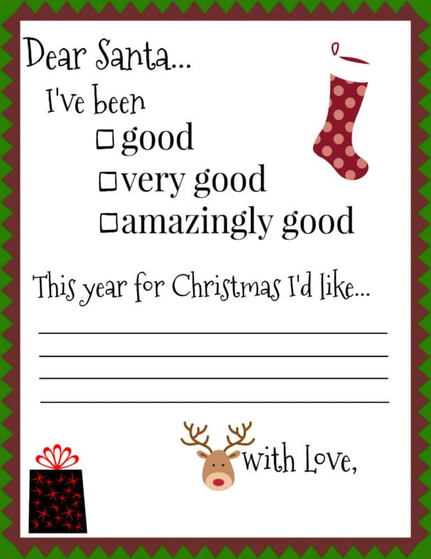 Santa Letters - Free Printables for your little ones! - Uncookie Cutter