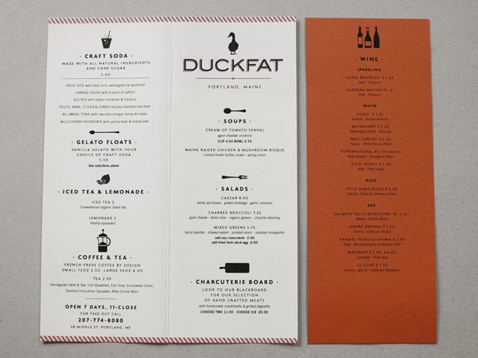 Art of the Menu Duckfat - coffee menu