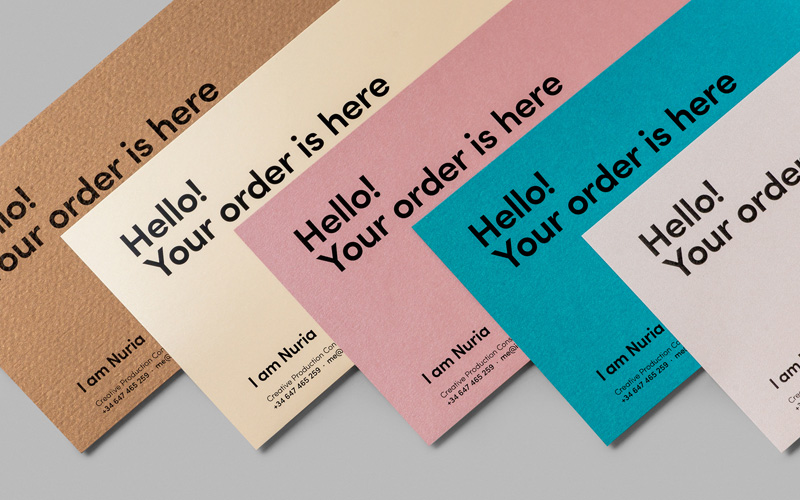 FPO I am Nuria Identity Materials - mailing label designs