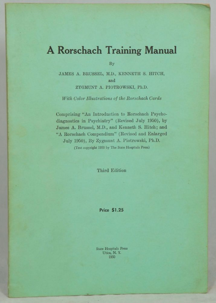 A Rorschach Training Manual James A Brussel, Kenneth S Hitch