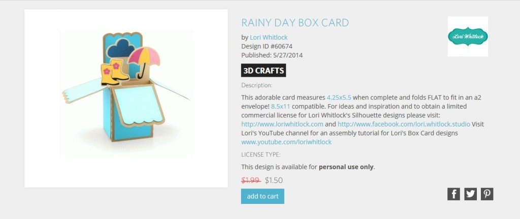 Come check out my take on Lori Whitlock's Rainy Day Box Card I made using my Silhouette Cameo for a fun spring pick me up care package.