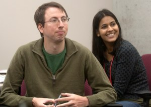 Grad students Richard Nelson and Simarjeet Negi look on during a session of UNeMed's first Technology Transfer Boot Camp, a week of imersive training sessions that dove into the commercialization of biomedical science.