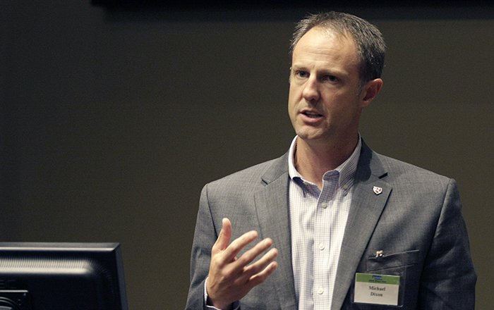 UNeMed PResident and CEO Michael Dixon during the SBIR Road Show, held at the University of Nebraska at Omaha's Mammel Hall on June 29, 2016.
