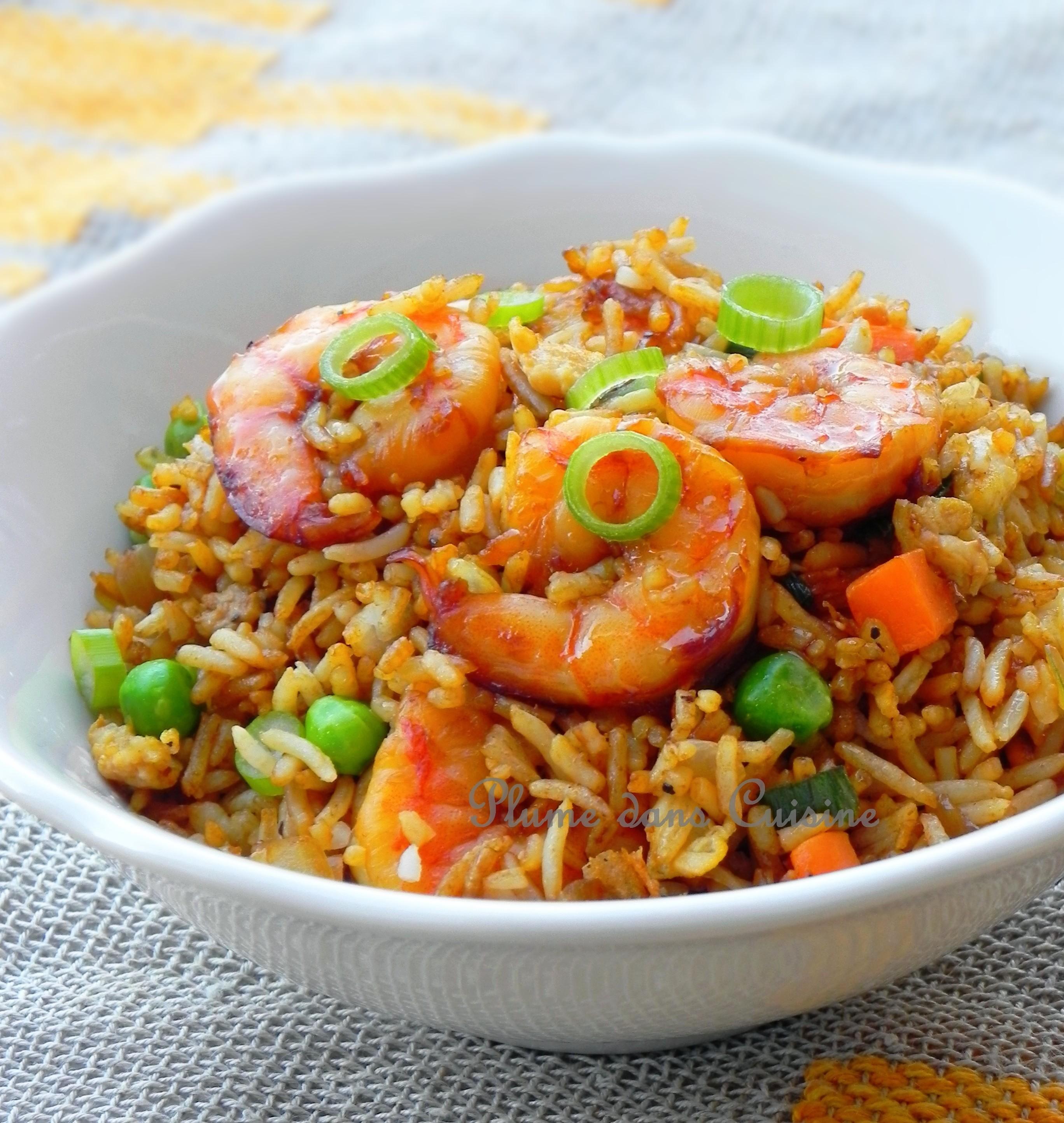 Riz saut aux crevettes - Plat a cuisiner facile ...