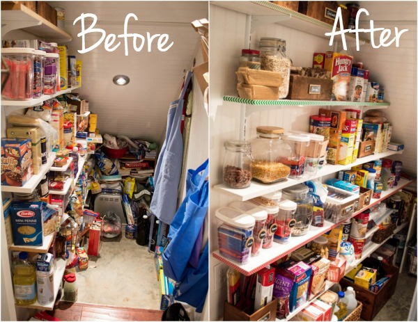 Before and After of Organized Pantry