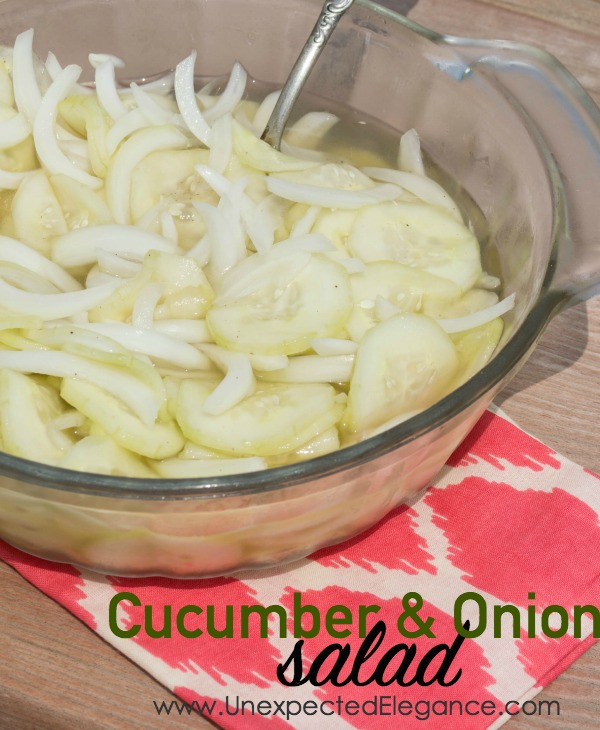 This delicious recipe for cucumber and onion salad is a perfect summertime side dish!!  It's a little tart and full of flavor.