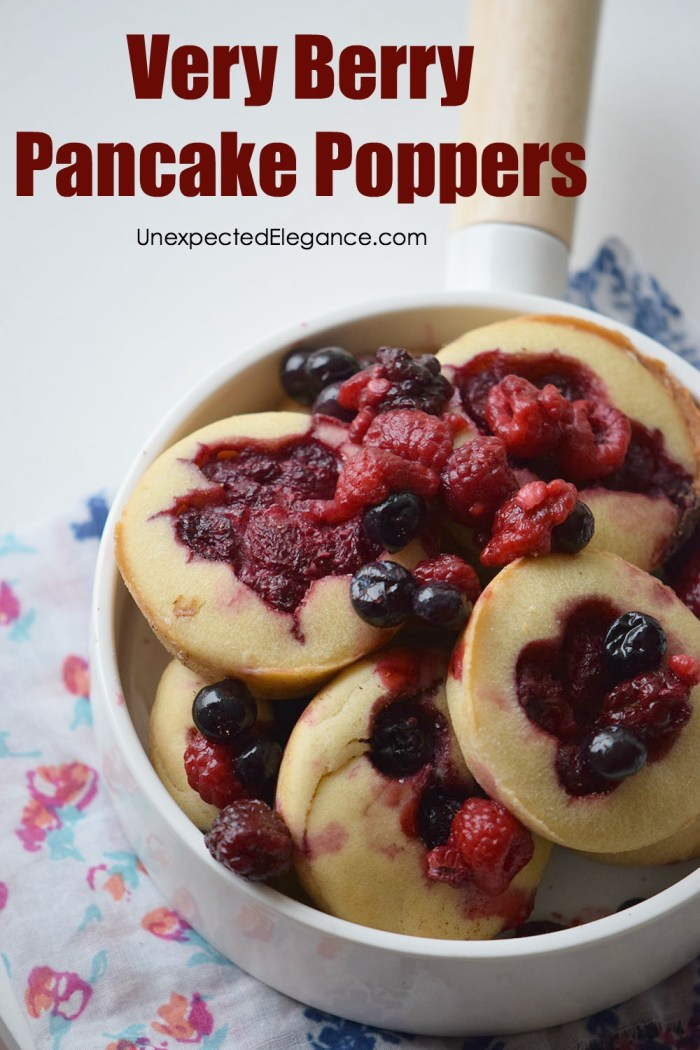 Need a quick and delicious breakfast recipe? Check out these berry pancake poppers! They are great for a brunch or even a breakfast on the go.