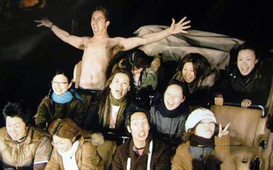 Shirtless Guy on roller coaster