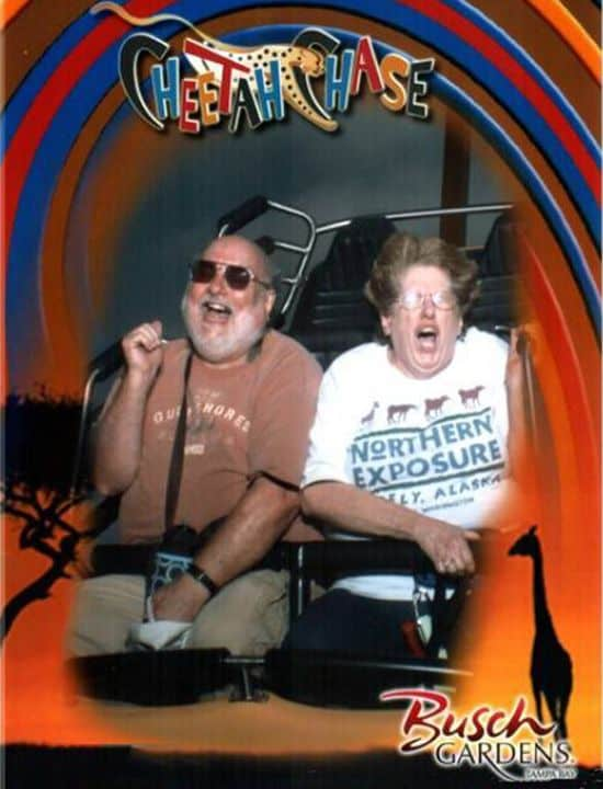 Old Couple On Roller Coaster