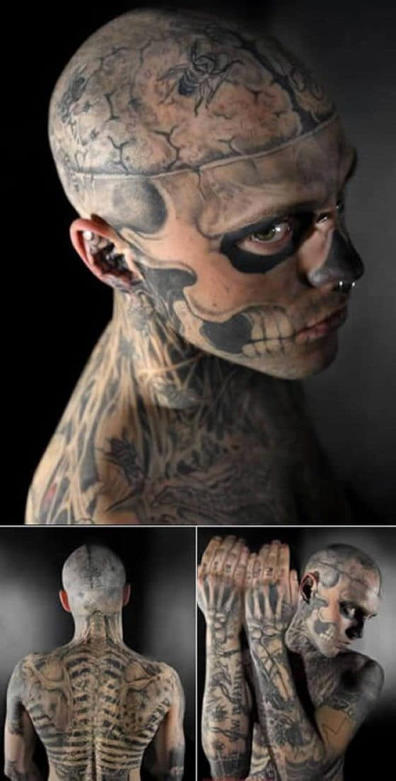Crazy zombie tattoo on a man