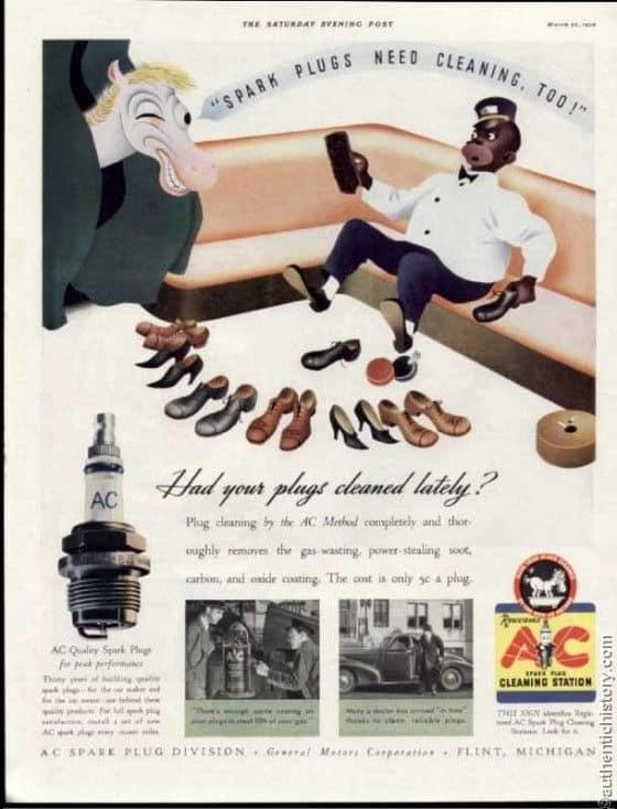 Racist Spark Plugs Vintage Ad