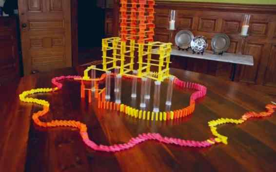 rube goldberg machine video tuna melt domino tower