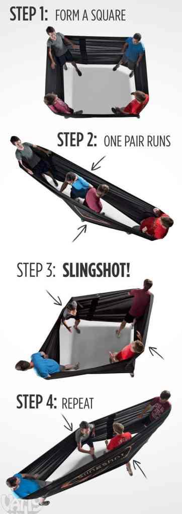 spandex human slingshot
