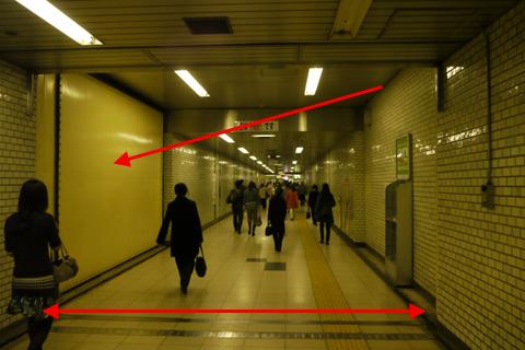 Puerta en el pasillo de la estación de Bakuroyokoyama