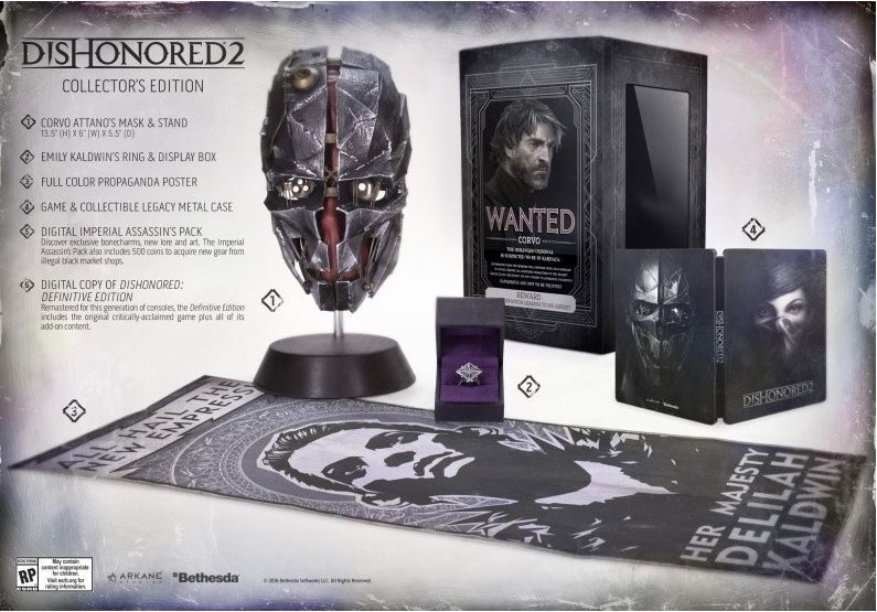 Yes, Dishonored 2 Collector's Ed confirmed... WITH CORVO MASK and EMILY'S RING!