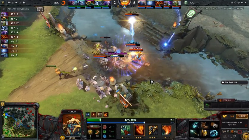 The OG early game was flawless, dominating all lanes and racking up the kills! (Image courtesy of Dota Digest Youtube Channel)
