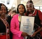 UN In Kenya Award 2013 winner, Josephine Kulea (right) with the Kenya Foreign Affairs minister Amina Mohammed and on the left her mother