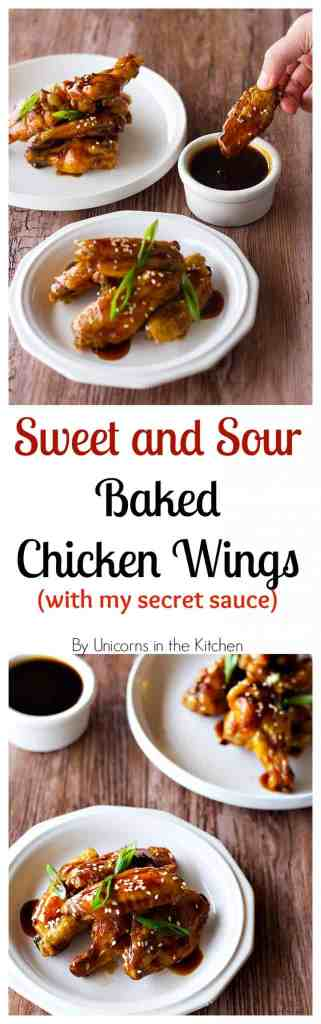 Sweet and Sour Baked Chicken Wings make you fly! Baked in the oven (so no mess!) and tossed in a sauce that you can literally use for anything! With video!