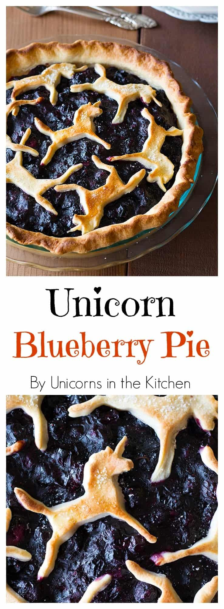 is best ever unicorn blueberry pie, drip free and with a flaky crust ...