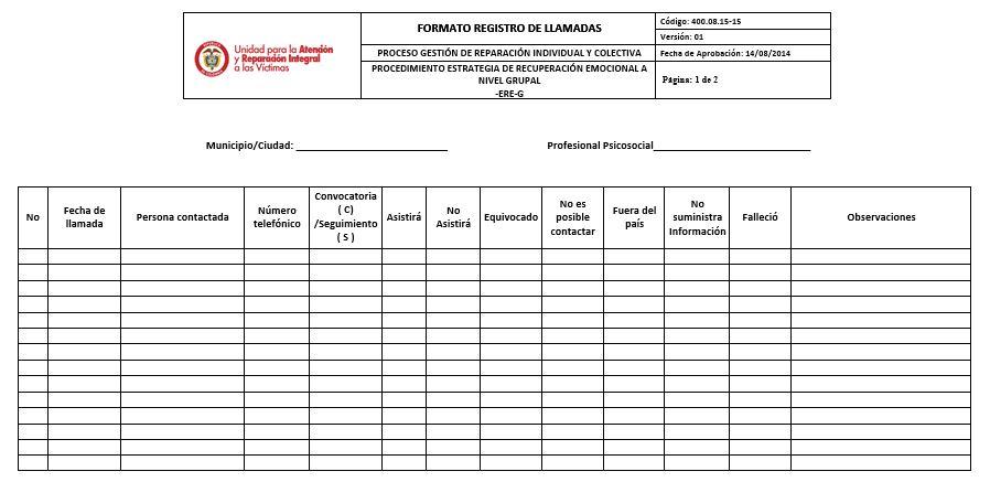 FORMATO REGISTRO DE LLAMADAS V1 Unidad para las Víctimas