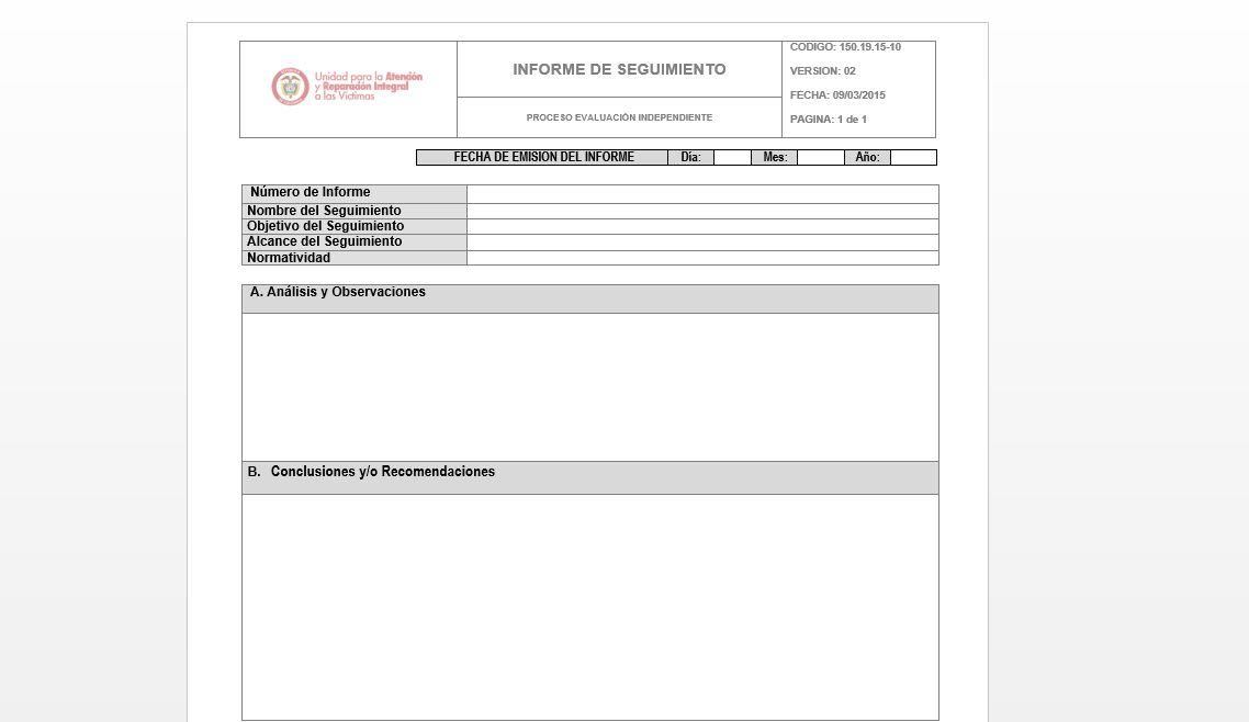 Formato Informe de Seguimiento v2 Unidad para las Víctimas - formato de informe escrito
