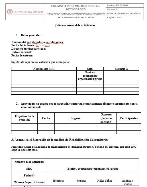 Formato informe mensual de actividades v2 Unidad para las Víctimas - formato de informe escrito