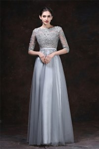 A Line High Neck Long Silver Tulle Lace Evening Prom Dress