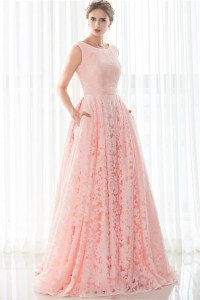 A Line Sleeveless Corset Back Long Pearl Pink Lace Prom ...