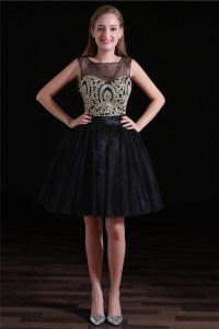 Ball Open Back Short Black Tulle Gold Embroidery Party ...